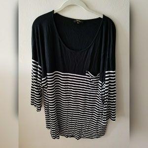 Tops - Black/White striped dressy pocket T 💖